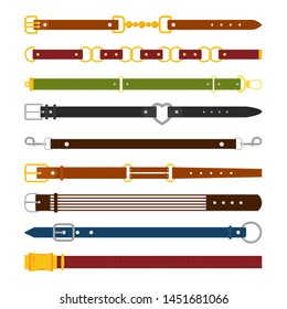 Male and female belts flat illustrations set. Fashionable unisex accessory isolated cliparts pack. Leather and textile color belts for men and women. Clothes items, garment, apparel design elements