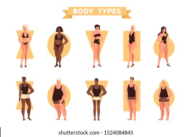 Male and female body shapes set. Triangle and rectangle, pear and apple figure. Human anatomy. Vector illustration in cartoon style