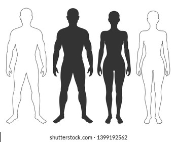 Male and female body silhouettes and contours. Man and woman Isolated symbols on white background. Vector illustration