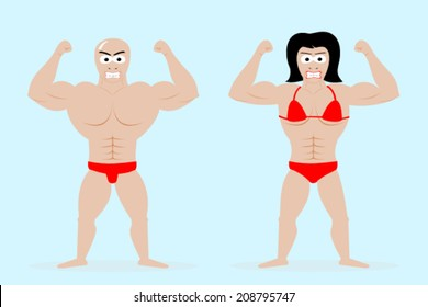 Male and female bodybuilders posing