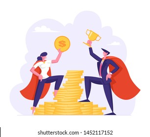 Male and Female Business Characters in Super Hero Cloaks Hold Golden Dollar and Cup Stand on Stack of Gold Coins, People and Money Savings. Earnings. Profit, Salary, Cartoon Flat Vector Illustration