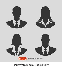 Male & female businesspeople icons on gray background - can be used as avatar profile pictures