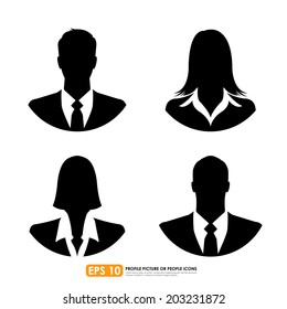 Male & female businesspeople icons on white background - can be used as avatar profile pictures