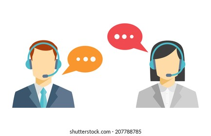Male and female call center avatar icons with a faceless man and woman wearing headsets with colorful speech bubbles conceptual of client services and communication