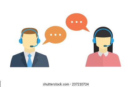 Male and female call center avatar icons with a faceless man and woman conceptual of client services and communication