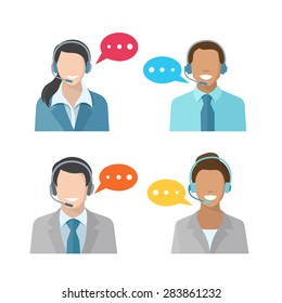 Male and female call center avatar icons with a man and woman wearing headsets  concepts of client services and communication