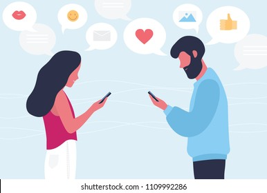 Male and female cartoon characters chatting or texting on their smartphones. Young romantic couple sending messages to each other. Internet or online communication. Flat colorful vector illustration