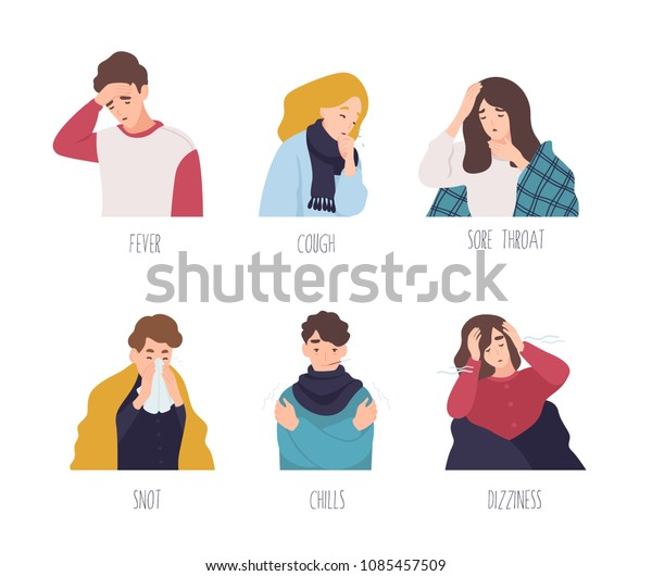 Male and female cartoon characters demonstrating symptoms of common cold - fever, cough, sore throat, snot, chills, dizziness. Collection of sick or ill men and women. Flat vector illustration