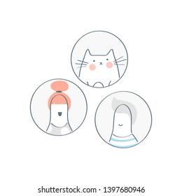 Male, female and cat cartoon head silhouettes avatars, profile head icons.