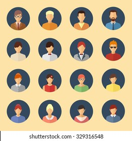 Male and female character avatars. Flat style people vector icons set