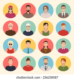 male and female character faces avatars. flat style vector icons set