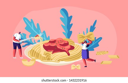 Male and Female Characters Eating Spaghetti Pasta with Tasty Sauce from Huge Plate, with Dry Macaroni of Various Kinds around. Italian Cuisine, Healthy Food Menu, Cartoon Flat Vector Illustration