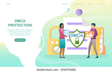 Male and female characters are protecting DMCA together. Concept of protecting intellectual property. Website, web page, landing page template. Flat cartoon vector illustration