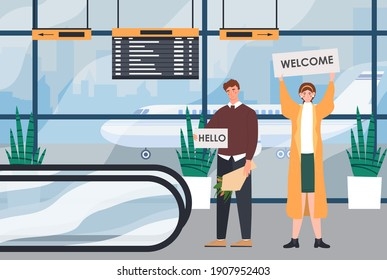 Male and female characters are waiting for someone in the airport hall. Man and woman greet someone with broadsheets. Hello and welcome broadsheets. Flat cartoon vector illustration