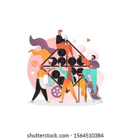 Male and female characters with wineglasses, bottle of alcoholic beverage in wine tasting room, bar, vector illustration. Wine degustation concept for web banner, website page etc.