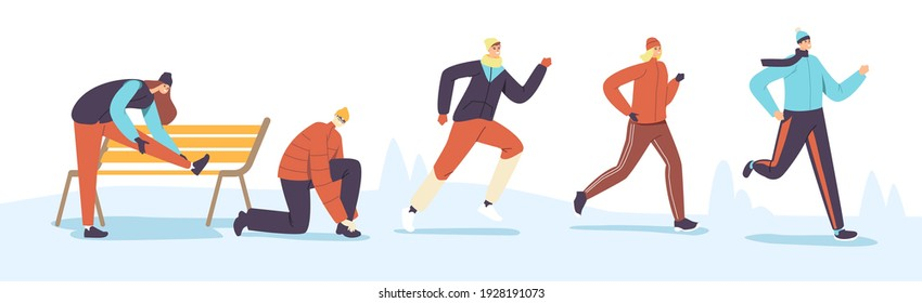 Male and Female Characters Winter Running. Sport Jogging Competition. Athlete Sprinters Sportsmen and Sportswomen in Warm Clothes Run Sprint Race at Cold Season. Cartoon People Vector Illustration