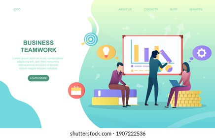 Male and female characters are working together in team. Concept of successful business teamwork. Working with infographics. Website, web page, landing page template. Flat cartoon vector illustration