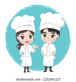 Male and female chef cartoon characters.