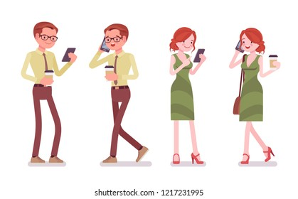 Male and female clerk with gadgets. Young man and woman, employee answering calls, speaks with clients by phone. Business and office jobs concept. Vector flat style cartoon illustration