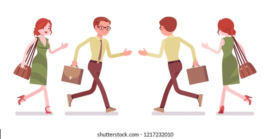 Male and female clerk running. Young man and woman, employee busy with message delivery, errands, hurry at work. Business, office jobs concept. Vector flat style cartoon illustration, front, rear view