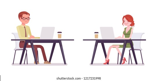 Male, female clerk working with laptop. Young man and woman, employee performing data processing, writing letters, documents. Business and office jobs concept. Vector flat style cartoon illustration