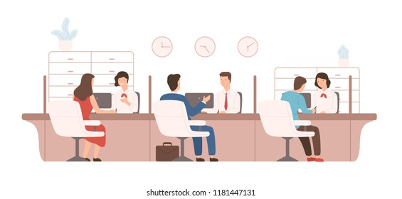 Male and female clients sitting and talking to managers or analysts of credit department. Bank workers providing services to customers. Colorful vector illustration in modern flat cartoon style.