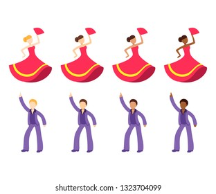 Male and female dancer emoji set. Disco dancing man and flamenco dancer woman with different skin tone color. Flat cartoon vector icon collection.