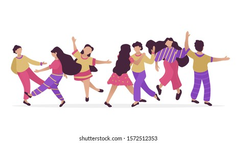 Male and female dancing characters. Set of flat happy people. Funny friends and couple dance and jump. Vector illustration.