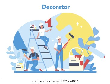 Male and female decorator painter in the uniform paint the wall with paint roller. Upgrade and repair process concept. Person on the work. Vector illustration in cartoon style