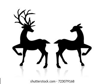 male and female deers icon illustration isolated vector sign symbol. Vector illustration design for Xmas cards, valentine cards, banners and flyers, vector illustration isolated on white background.