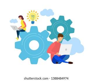 Male, Female Developers Teamwork, Cowork Character. SEO, App Optimization Flat Illustration. Cartoon Programmers Coding, Using Laptops. New Ideas, Creative Solution Searching, Brainstorm