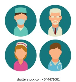 Male and female doctor character set icon. Vector flat illustration. For web, info graphics, poster. Isolated on turquoise circle.