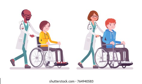 Male and female doctor with wheelchair patient. People in hospital transporting person unable to walk. Medicine, healthcare concept. Vector flat style cartoon illustration isolated on white background