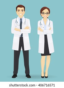 Male and female doctors isolated on blue background. Man and woman profession characters