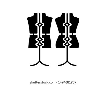 Male & female dressmaking adjustable mannequin with base stand. Sign of tailor dummy. Display body, torso. Professional dress form. Flat icon. Black & white vector illustration