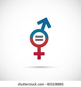 Male and female equality concept. The equality of men and women. Equal rights concept.  Gender equality. Women's rights.