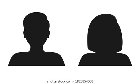 Male and female face silhouette. People avatar profile. Man and woman portraits. Vector illustration.