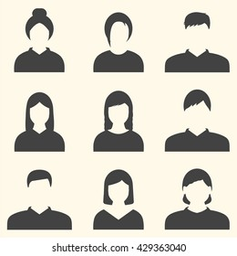Male and female faces avatars.  Avatar Icon Flat. Businessman and businesswoman icons.Profile of people silhouettes in black.