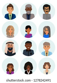 Male and female faces avatars. Business people avatar icons. Men and women of different nationalities. Multicultural society concept, man and woman characters. Flat icons set. Vector illustration