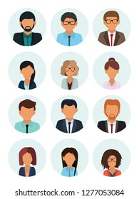 Male and female faces avatars. Businessman and businesswoman avatar icons. Team icons collection. User icon. Flat vector icons set.  Vector illustration