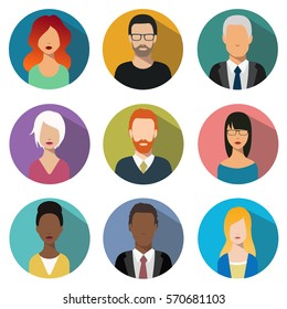 male and female faces avatars. User sign icon. Different nationality