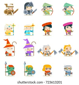 Male Female Fantasy RPG Indie Game Character Vector Icons Set Vector Illustration