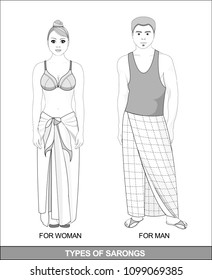 Male and female fashion. The sarong skirt types. Skirt in a cage. A man and a woman in full growth.