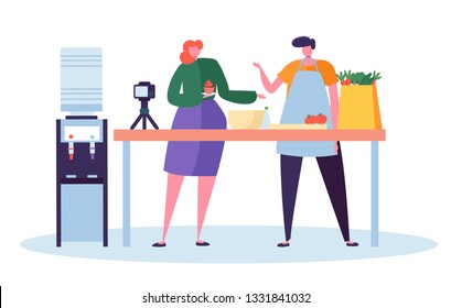 Male Female Food Blogger Character Recording Video on Camera in Kitchen. Woman Make Cake and Man Prepare Vegetable on White Background. Blog Concept Flat Cartoon Vector Illustration