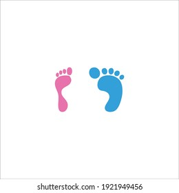 male and female footprint pink and blue color on white background vector illustration.