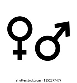 Male & Female Gender Icon in Simple Outline Design Isolated on White Background. Vector Illustration