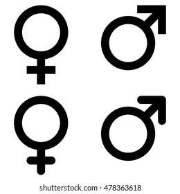Male and female gender symbol set , vector illustration