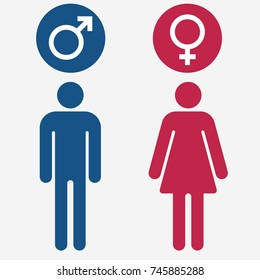 Male and Female gender symbol set, Man Woman sign vector
