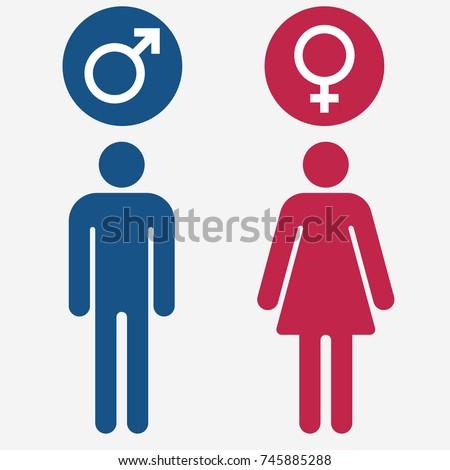 Male Female Gender Symbol Set Man