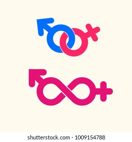 Male and female gender vector icon. Creative sex symbol logo.